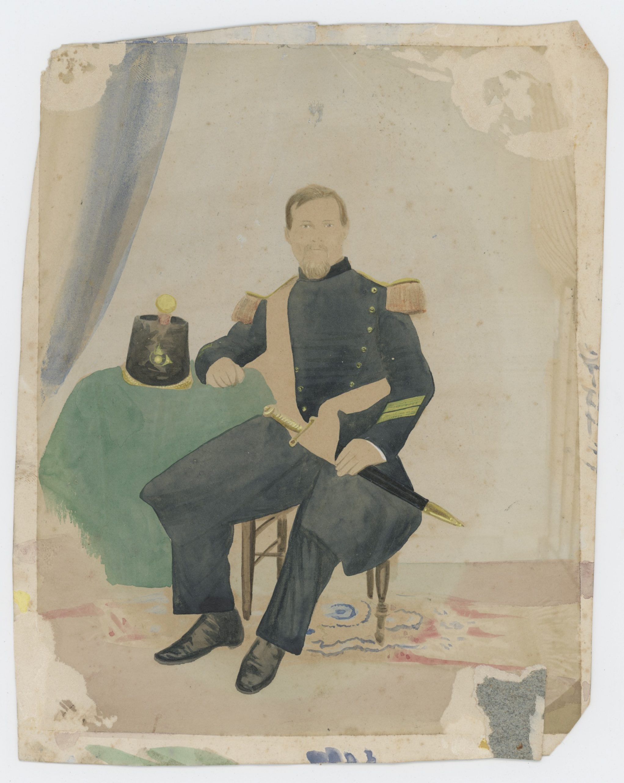 Ancienne Photographie - Voltigeur Garde Impériale 1850/1860 - Second Empire - Papier Albuminé - Rehaussé - Napoléon III