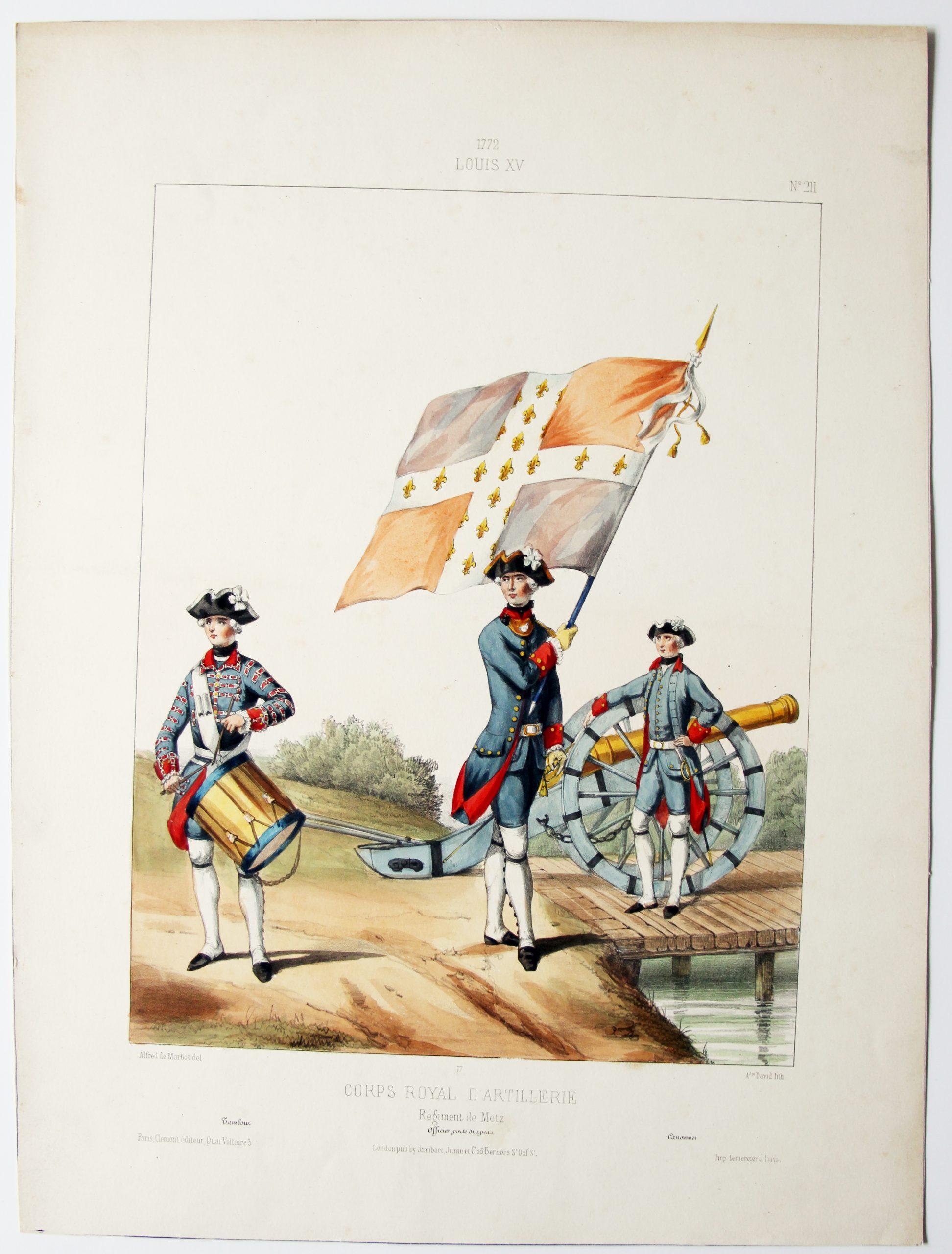 Louis XV - Corps Royal d'artillerie - Uniformes Louis XV - Planche 211 - Alfred de Marbot