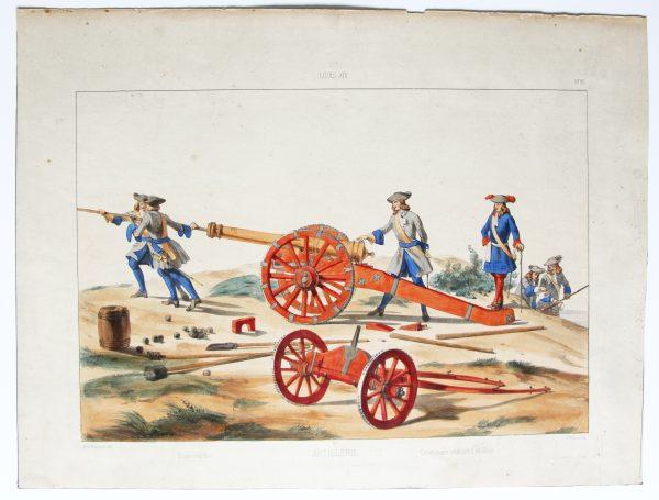 Louis XIV - Artillerie - Uniformes Louis XIV - Planche 90 - Alfred de Marbot