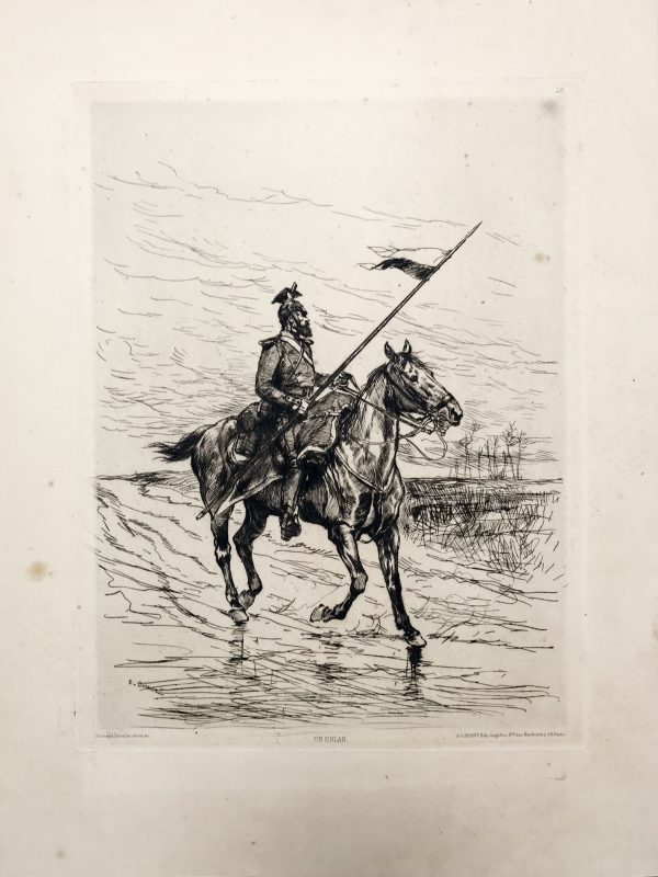 Edouard Détaille - Uhlan Prusse 1870 - Estafette - Guerre Franco Prussienne - 1870/1871 - Uniforme - Gravure