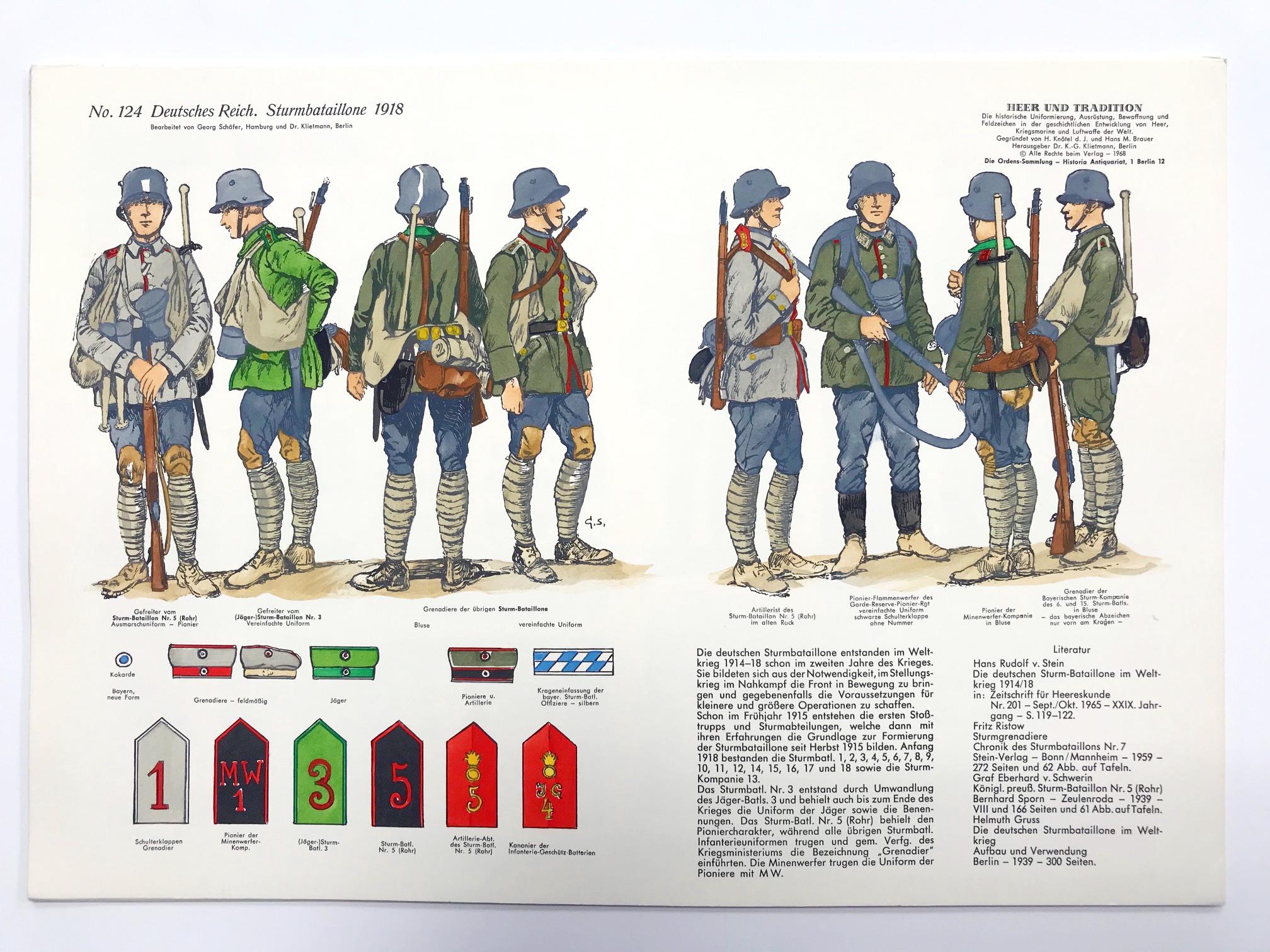 Planche 124 - Heer Und Tradition - Hans Bauer - Uniforme - Deutsches Reich - 1918 - Sturmbataillone - Die Historische Uniformierung - 1968