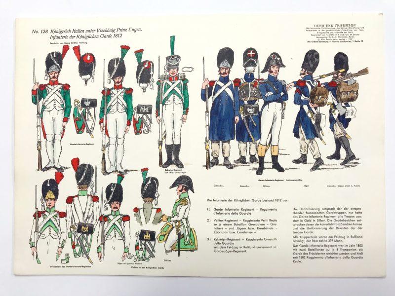 Planche 128 - Heer Und Tradition - Hans Bauer - Uniforme - Die Historische Uniformierung - Königreich Italien - 1812 - Garde Italienne - 1967