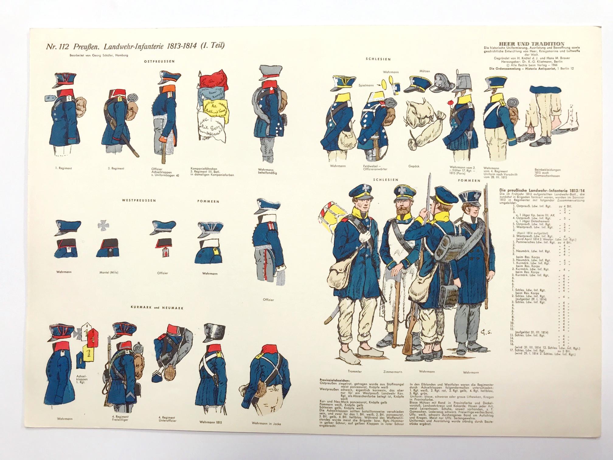 Planche 112- Heer Und Tradition - Hans Bauer - Uniforme - Preussen Landwehr Infanterie - 1813-1814 - Die Historische Uniformierung - 1967