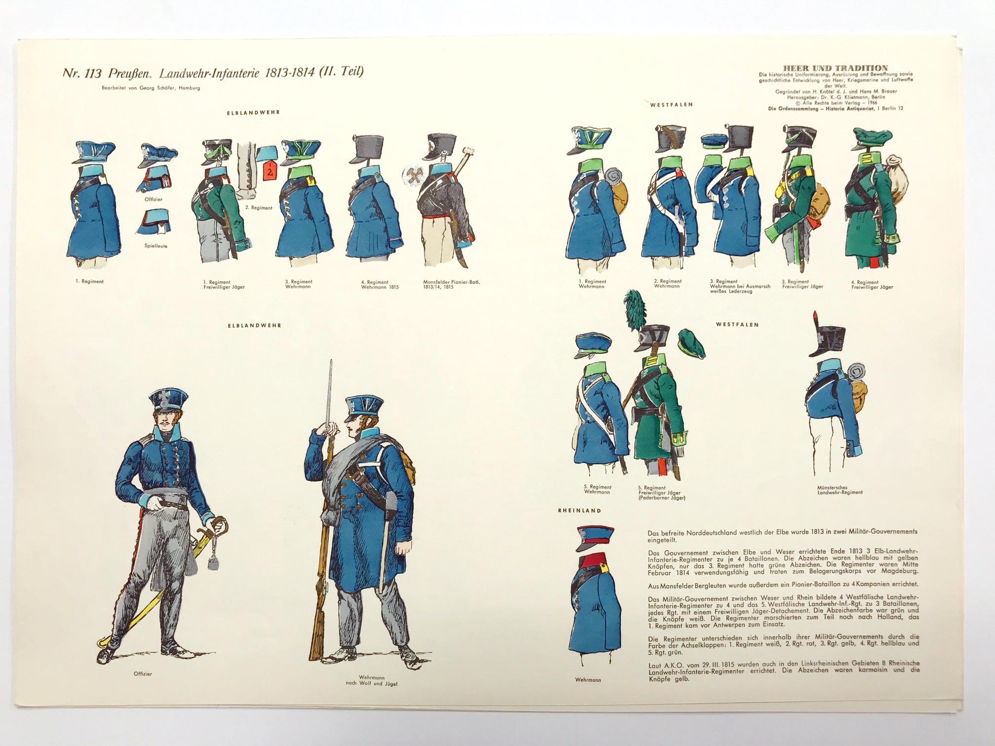 Planche 113- Heer Und Tradition - Hans Bauer - Uniforme - Preussen Landwehr Infanterie - 1813-1814 - Die Historische Uniformierung - 1967