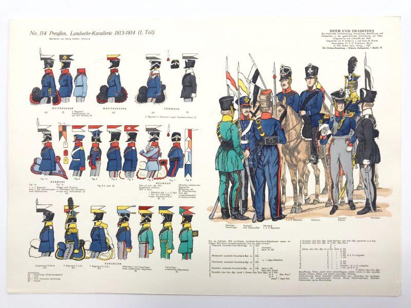 Planche 114- Heer Und Tradition - Hans Bauer - Uniforme - Preussen Landwehr Kavallerie - 1813-1814 - Die Historische Uniformierung - 1967