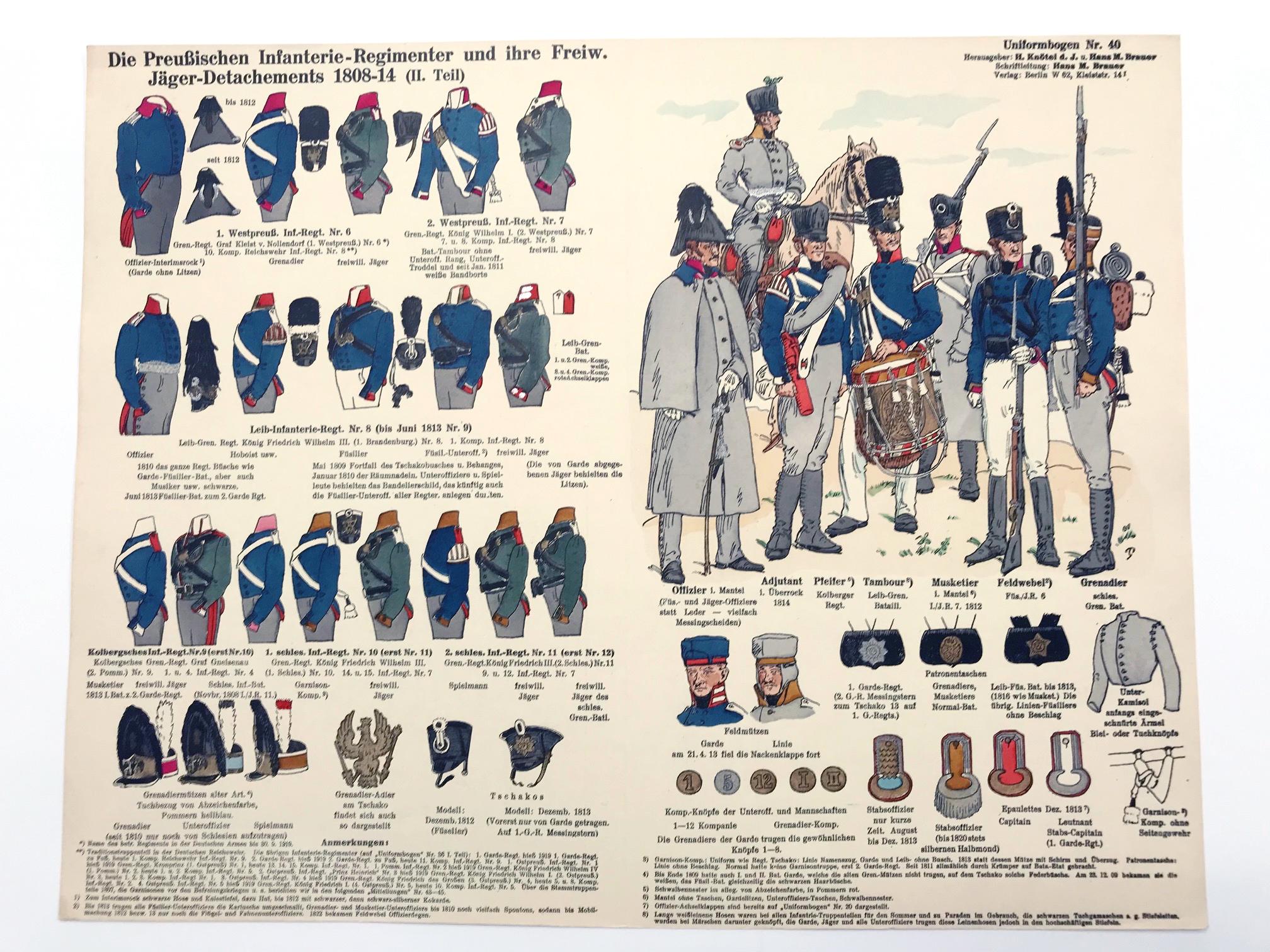 Planche 40- Heer Und Tradition - Hans Bauer - Uniforme - Preussischen Infanterie - 1808-1814 - Die Historische Uniformierung