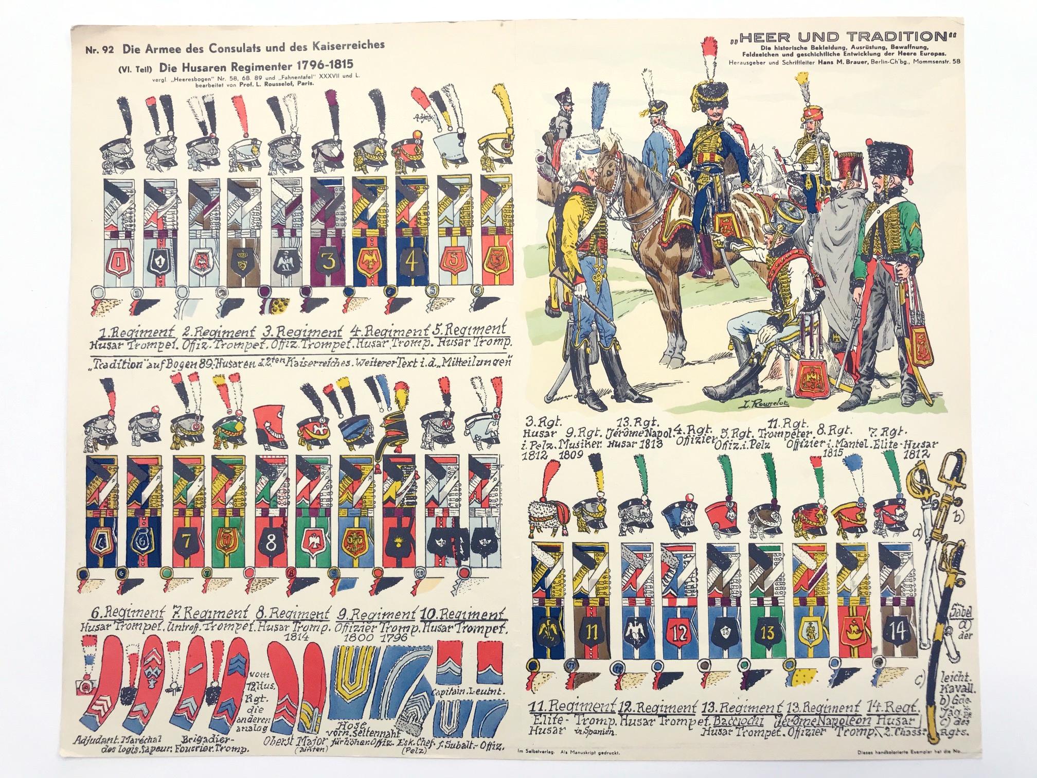 Planche 58 - Heer Und Tradition - Hans Bauer - Uniforme - Napoleon 1er Husaren - 1796 -1815 - Die Historische Uniformierung