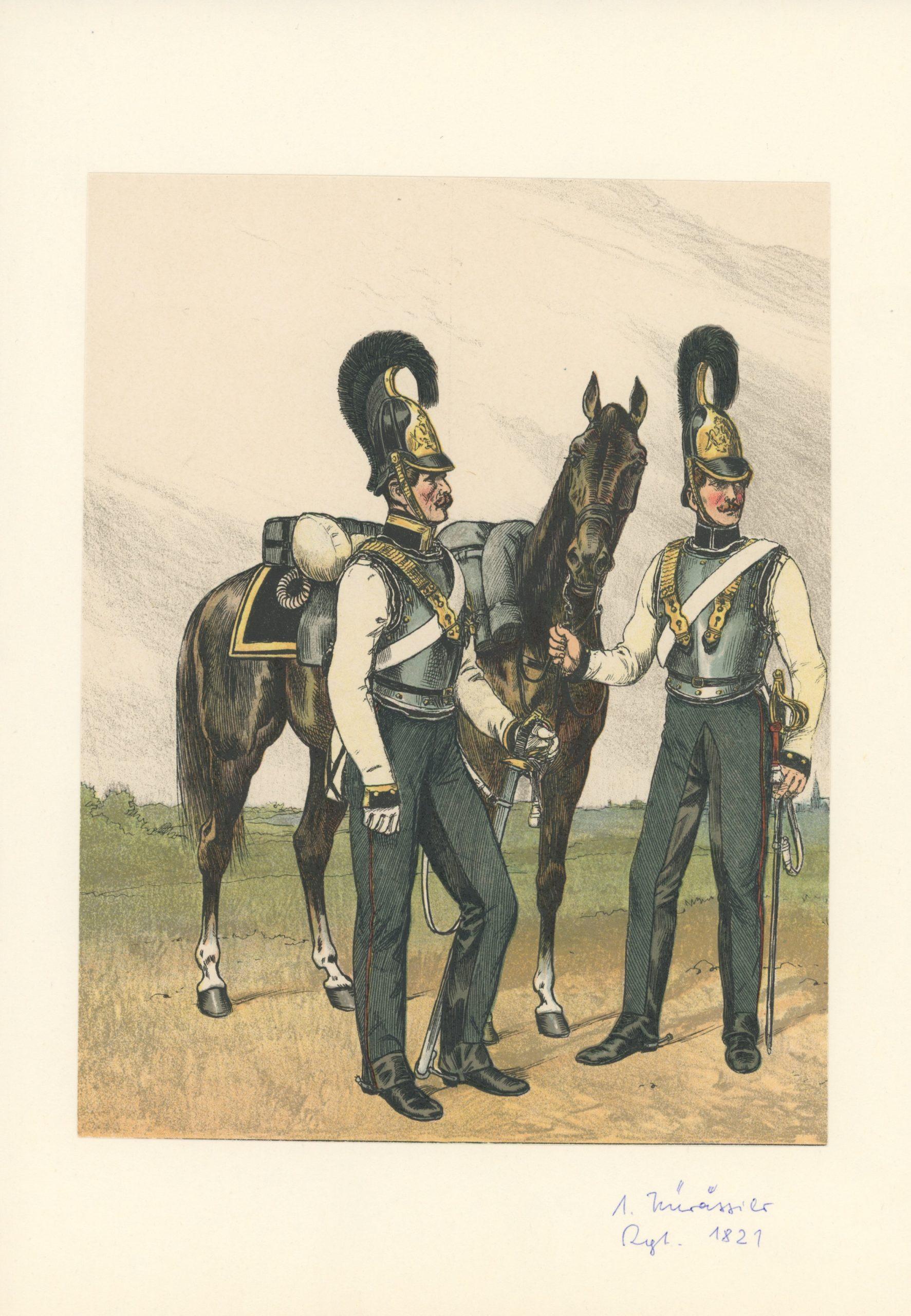 2 Planches Gravure - Illustration Richard Knötel - Cavalerie - Cuirassier Prussien - Kuirassier 1821 - Uniforme - Kuirassier
