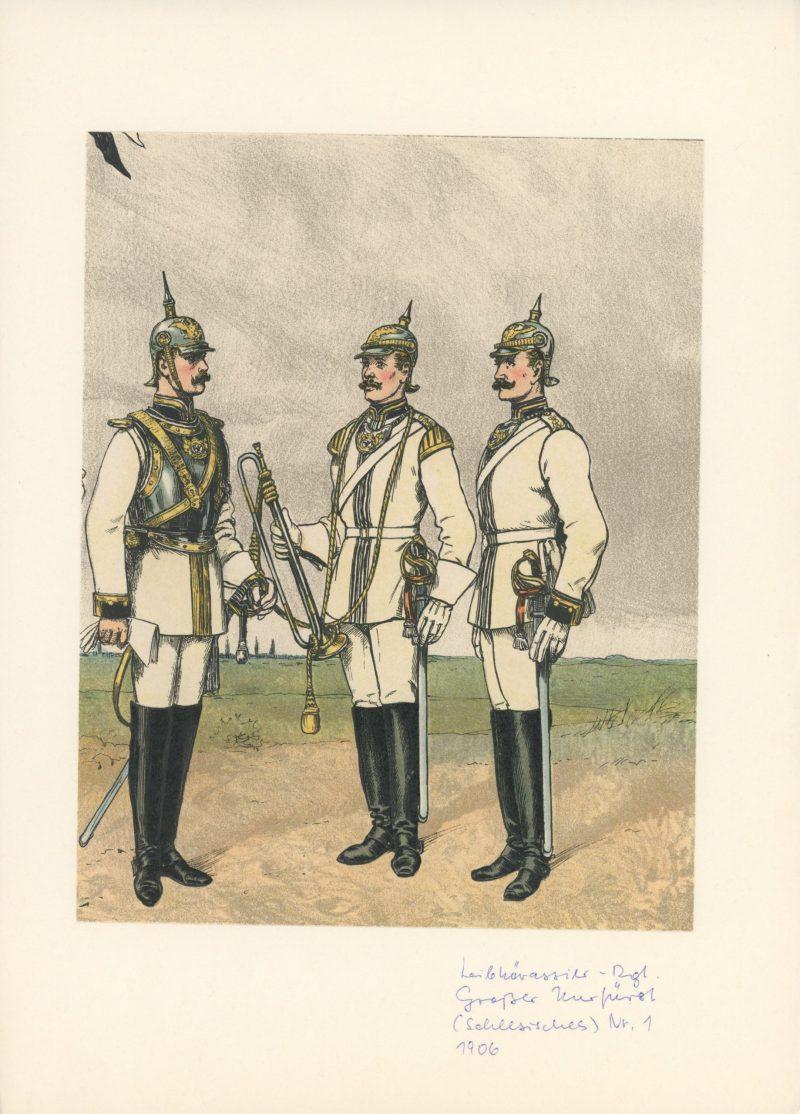 Planche Gravure Illustration Richard Knötel - Cavalerie - Cuirassier Prussien - Leib Kuirassier N°1 / 1906 - Uniforme - Kuirassier