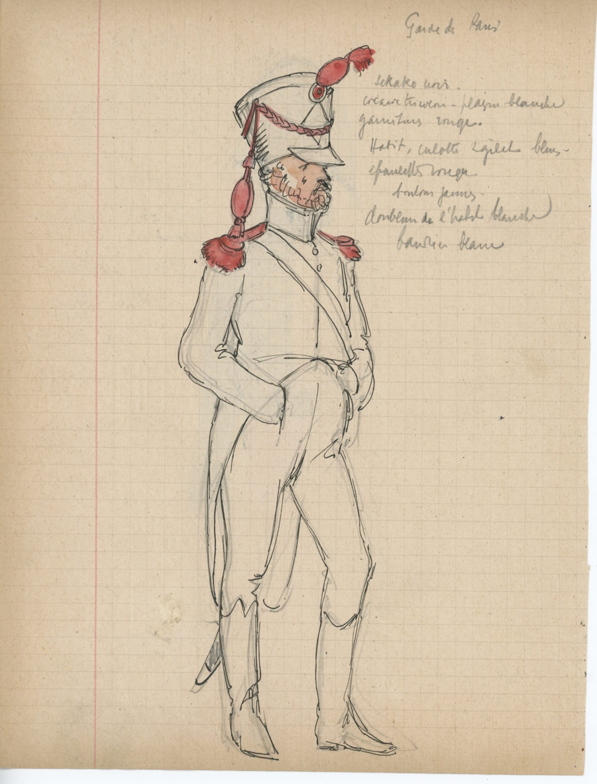 Lot de 33 pages de carnet illustrées - Dessin crayon - uniforme - soldat - 1er Empire - Napoleon 1er - Espagne - Hollande - France