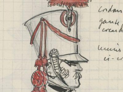 Lot de 33 pages de carnet illustrées - Dessin crayon - uniforme - soldat - 1er Empire - Napoleon 1er - Espagne - Hollande - France