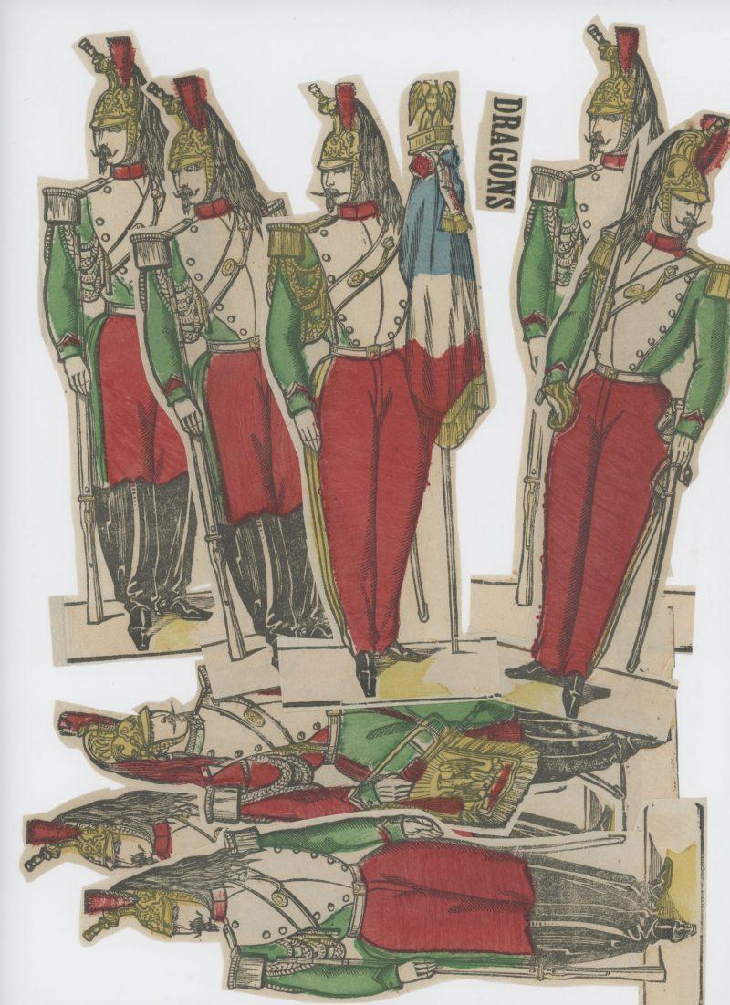 Planche imagerie Epinal - Pellerin Editeur - N°225 - Dragons de la garde Impériale - Second Empire - Armée Française