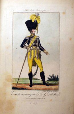 Belle Aquarelle originale - Garde Royale Restauration - Les Uniformes de la Garde Royale - Restauration - Tambour Major - 6 Régiment d'Infanterie