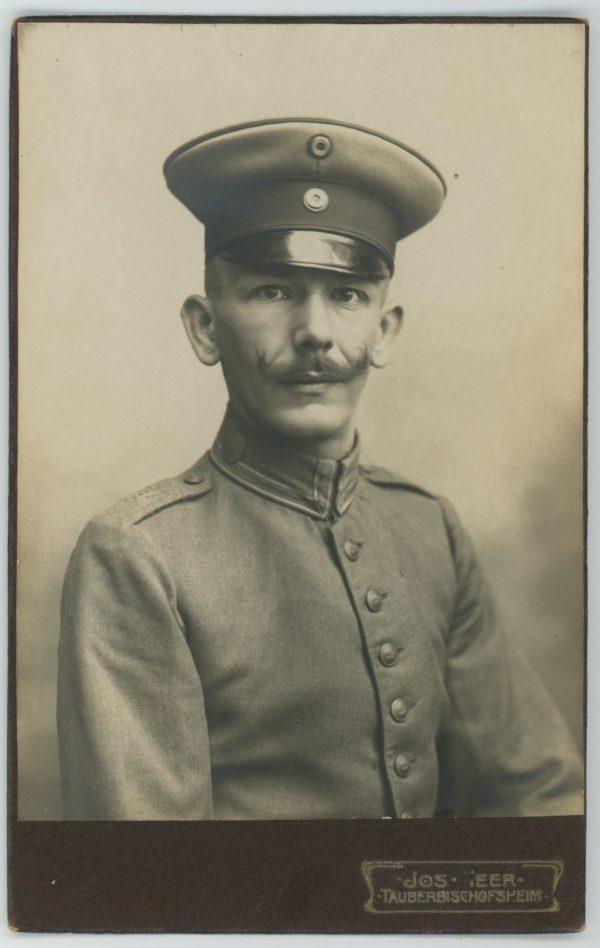 Ancienne Photographie - Grande CDV - Soldat Portrait - 1er Guerre Mondiale - Uniforme - Prusse - Casquette - Tauberbischofsheim