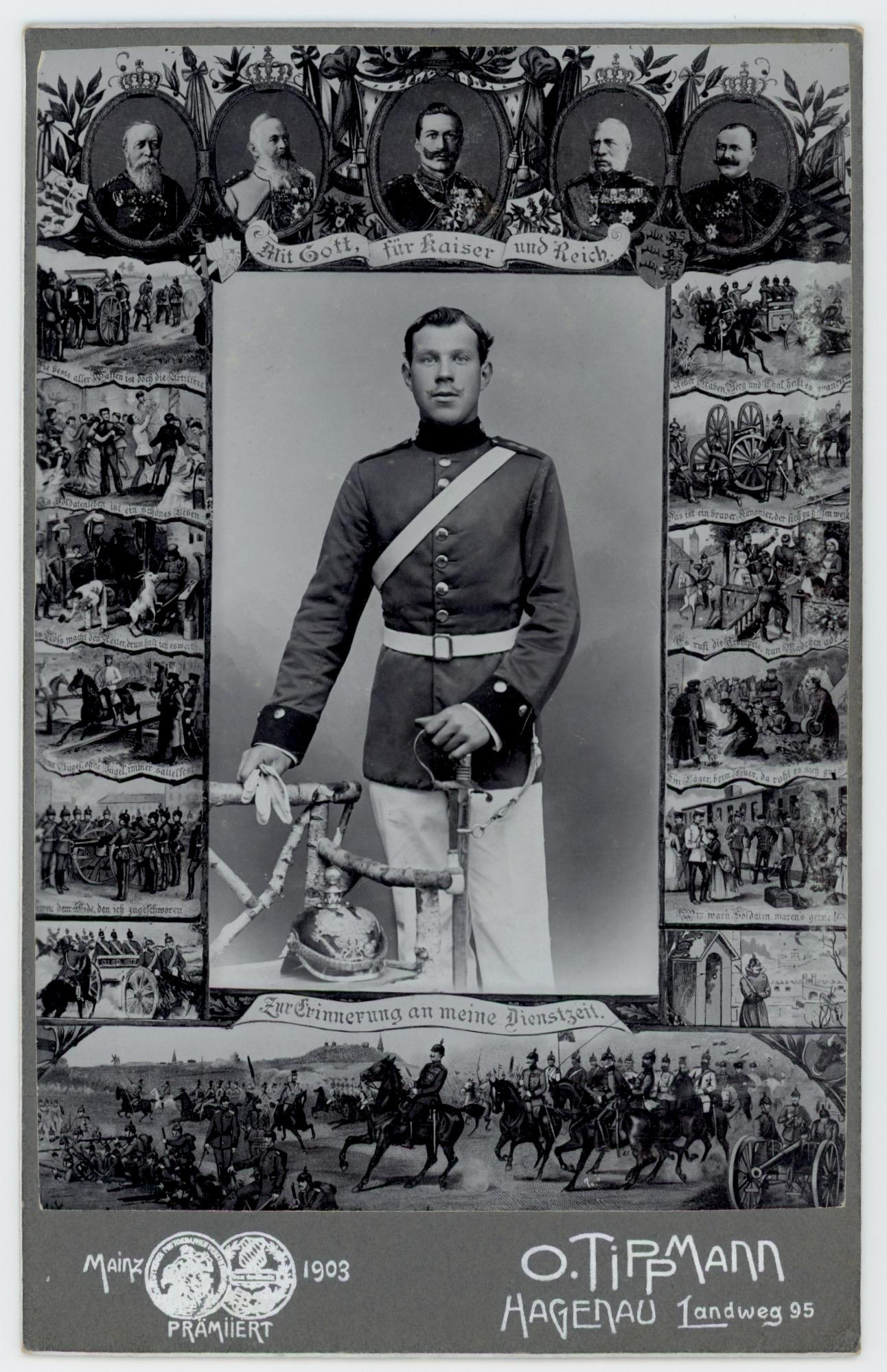 Ancienne Photographie - Grande CDV - Soldat Portrait - Service Militaire - Uniforme - Artillerie - Prusse - Casque - Dienstzeit - 1903