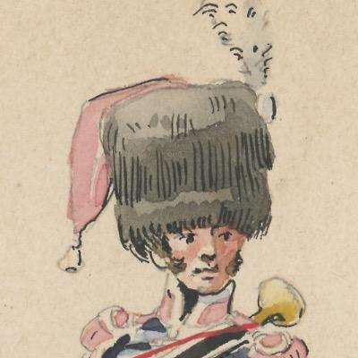 Dessin Aquarelle - Trompette de La Garde Nationale à cheval - Strasbourg - Uniforme - 1815 - Garde du Gouverneur