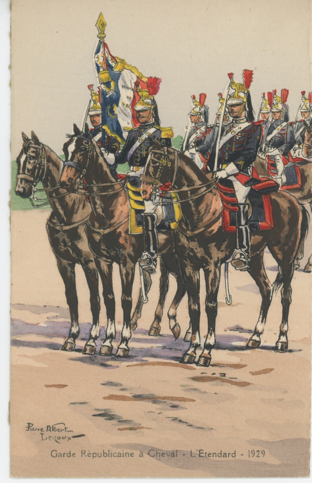 Carte Postale Illustrée - Pierre Albert Leroux- Edition Militaire Illustrées -Garde Républicaine Etendard - 1930