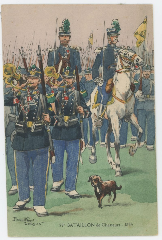 Carte Postale Illustrée - Pierre Albert Leroux- Edition Militaire Illustrées - Chasseur à Pied 1895