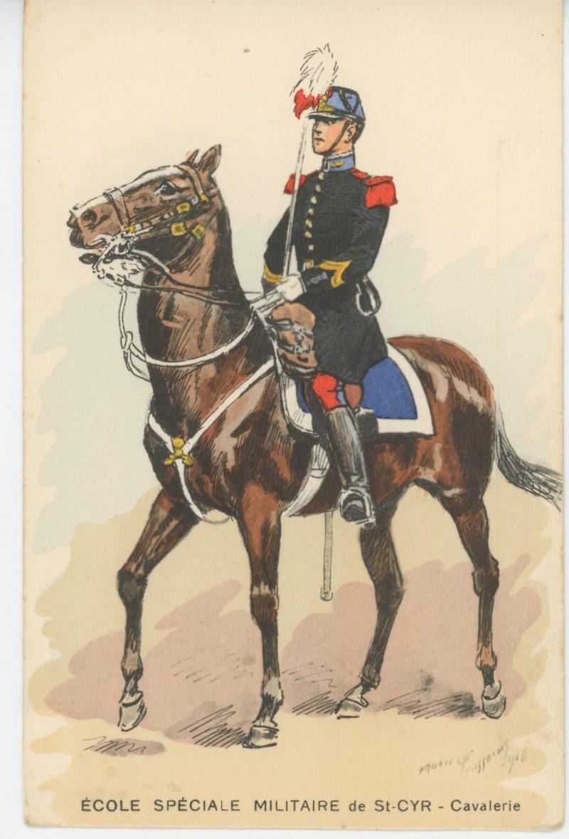 Carte Postale Illustrée - Maurice Toussaint - Edition Militaire Illustrées - Saint Cyr - Ecole Militaire - Cavalerie - 1940