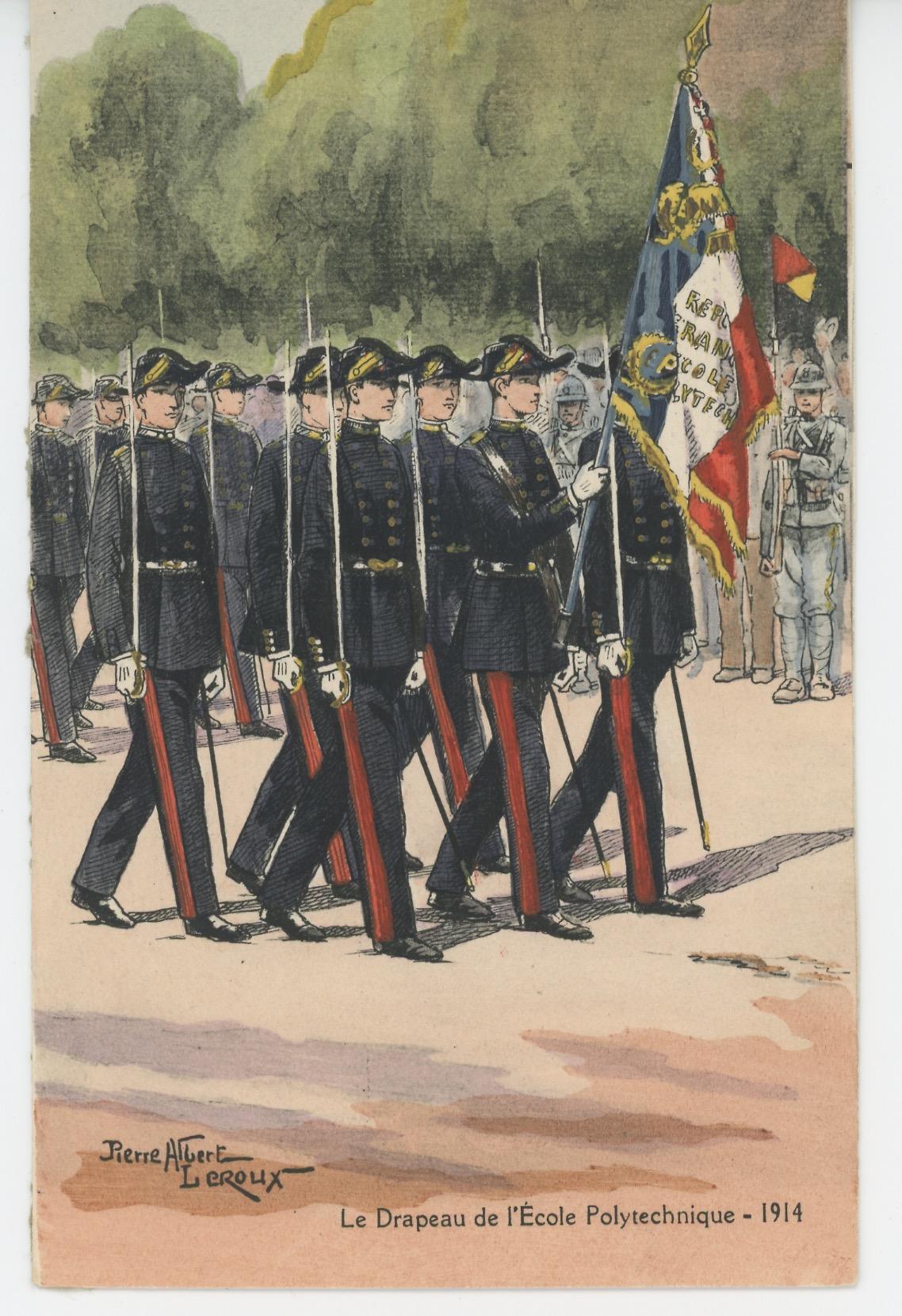 Carte Postale Illustrée - Pierre Albert Leroux- Edition Militaire Illustrées - Ecole Polytechnique Drapeau - 1930