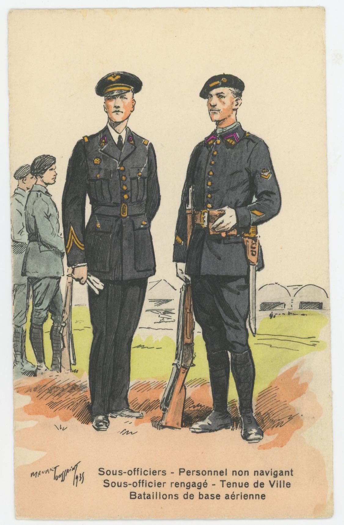 Carte Postale Illustrée - Maurice Toussaint - Edition Militaire Illustrées - Base Aérienne - Sous officiers - Personnel non-naviguant - 1940