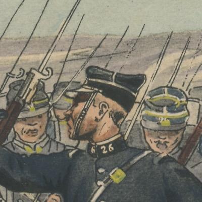 Carte Postale Illustrée - Pierre Albert Leroux- Edition Militaire Illustrées - Chasseur à Pied 1914