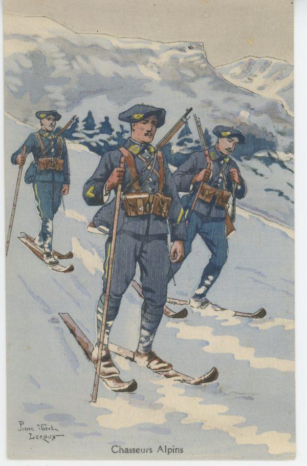 Carte Postale Illustrée - Pierre Albert Leroux - Edition Militaire Illustrées - Chasseurs Alpins - 1930
