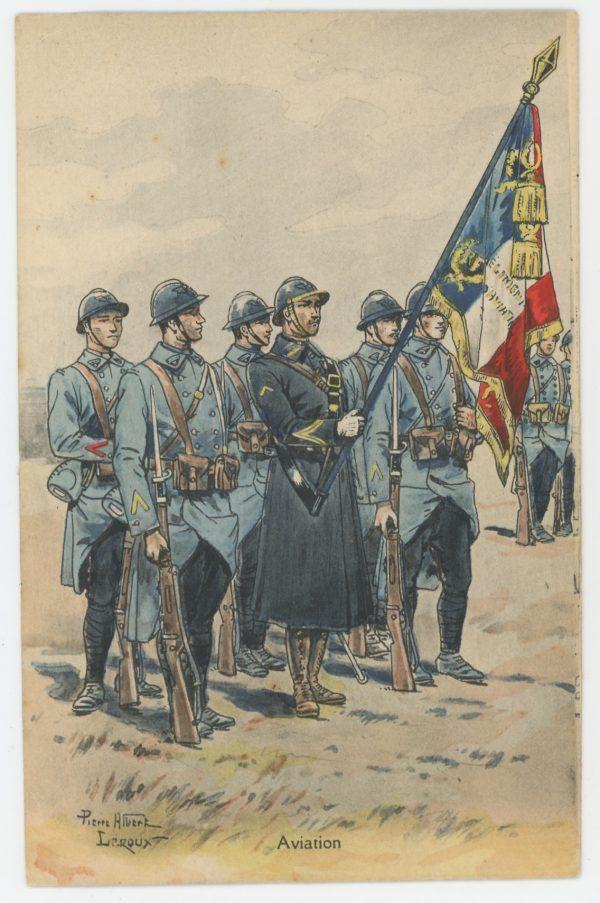 Carte Postale Illustrée - Pierre Albert Leroux- Edition Militaire Illustrées - Aviation - 1929 - Etendard
