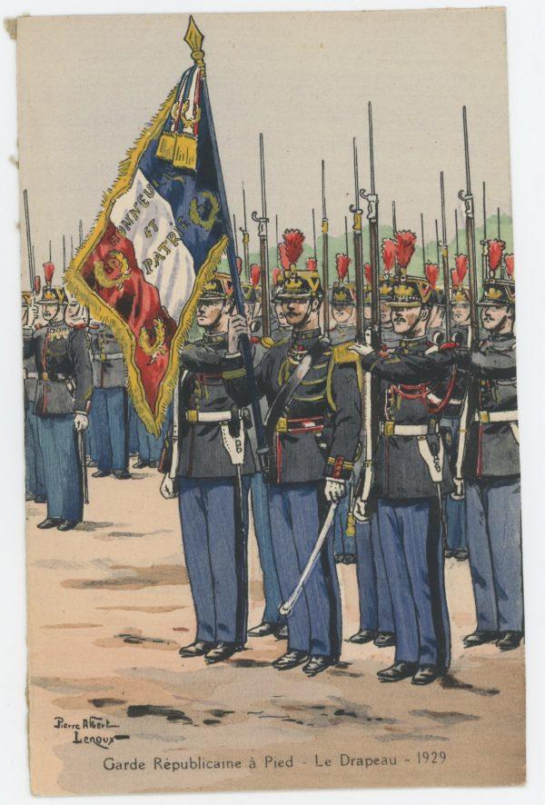 Carte Postale Illustrée - Pierre Albert Leroux- Edition Militaire Illustrées -Garde Républicaine Drapeau - 1930