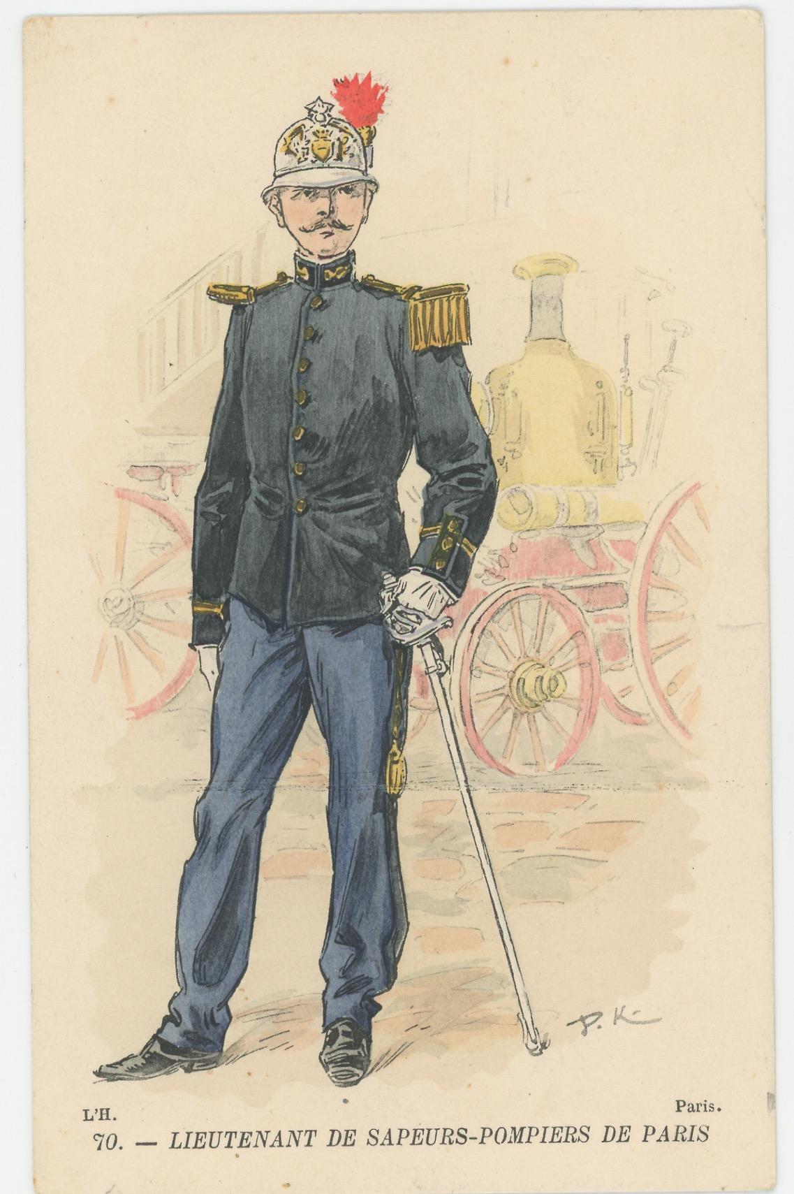 Carte Postale Illustrée - Paul Kauffmann - Lieutenant de Sapeurs Pompier - Paris