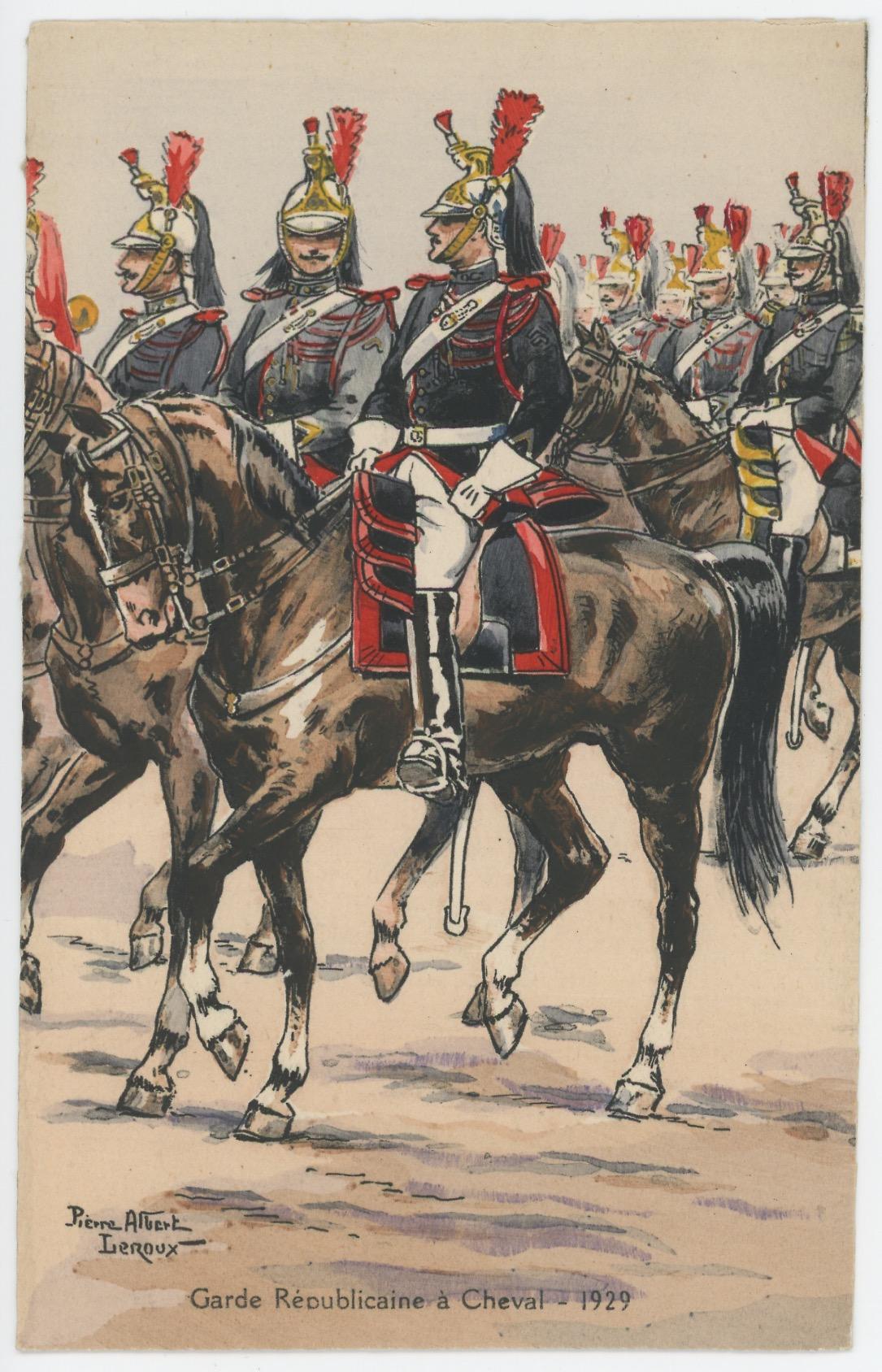 Carte Postale Illustrée - Pierre Albert Leroux- Edition Militaire Illustrées -Garde Républicaine à Cheval - 1930