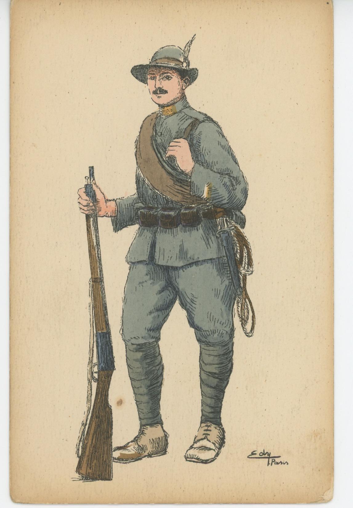 Carte Postale Illustrée - Chasseur Alpin Italien - 1915