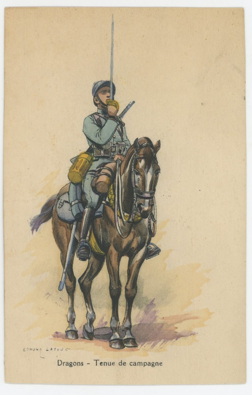 Carte Postale Illustrée - Edmond Lajoux - Edition Militaire Illustrées - Dragons - Cavalerie - 1930
