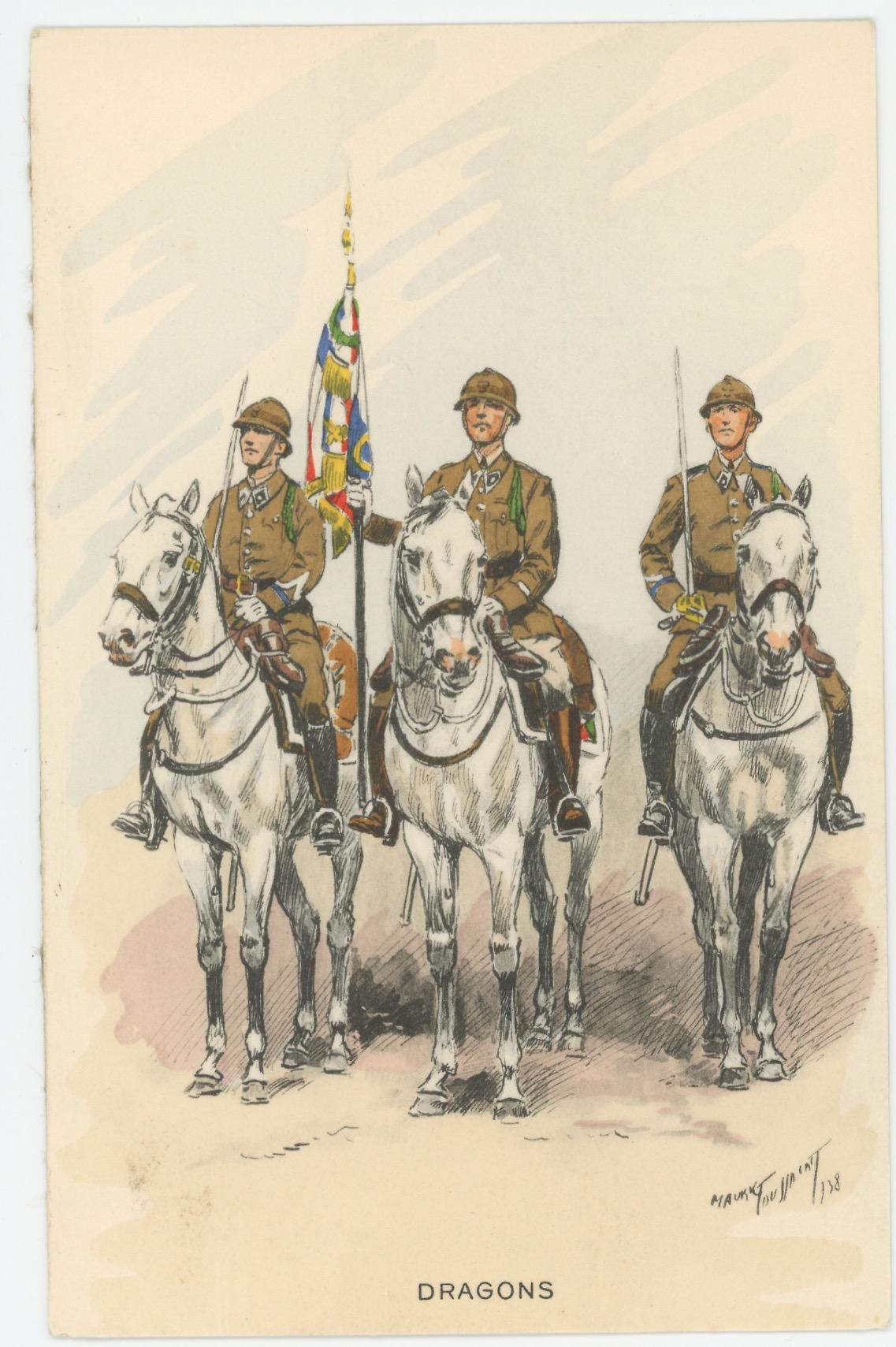Carte Postale Illustrée - Maurice Toussaint - Edition Militaire Illustrées - Dragons - 1940
