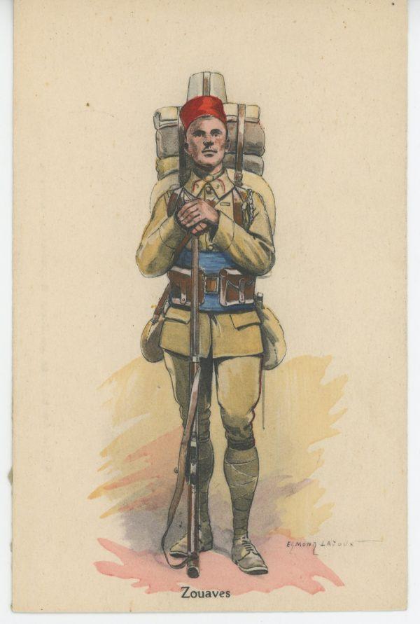 Carte Postale Illustrée - Edmond Lajoux - Edition Militaire Illustrées - Zouaves - 1930