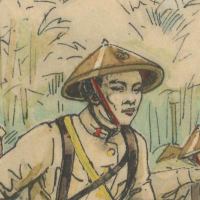 Carte Postale Illustrée - P.V Robiquet - Edition Militaire Illustrées - Tirailleurs Indo-Chinois - 1930