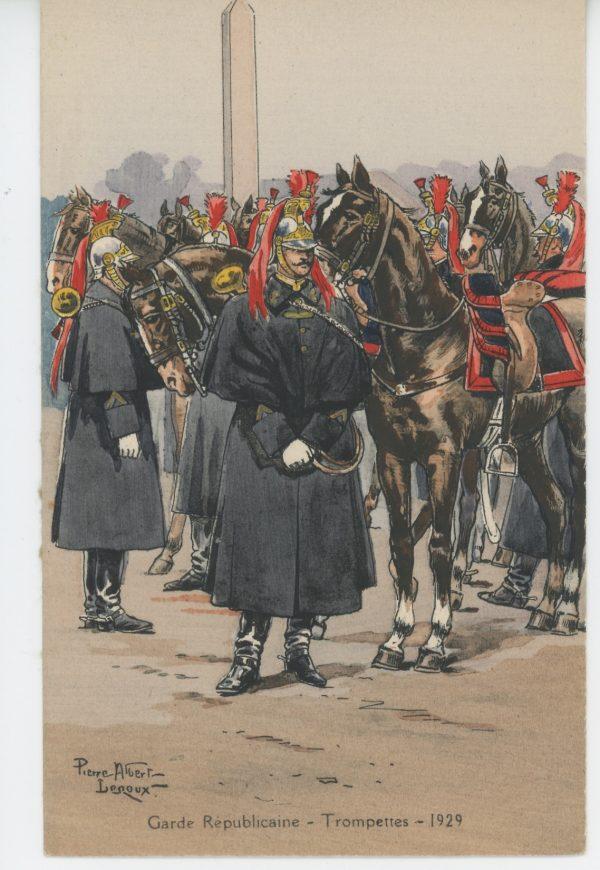 Carte Postale Illustrée - Pierre Albert Leroux- Edition Militaire Illustrées -Garde Républicaine à Cheval - Trompette - 1930