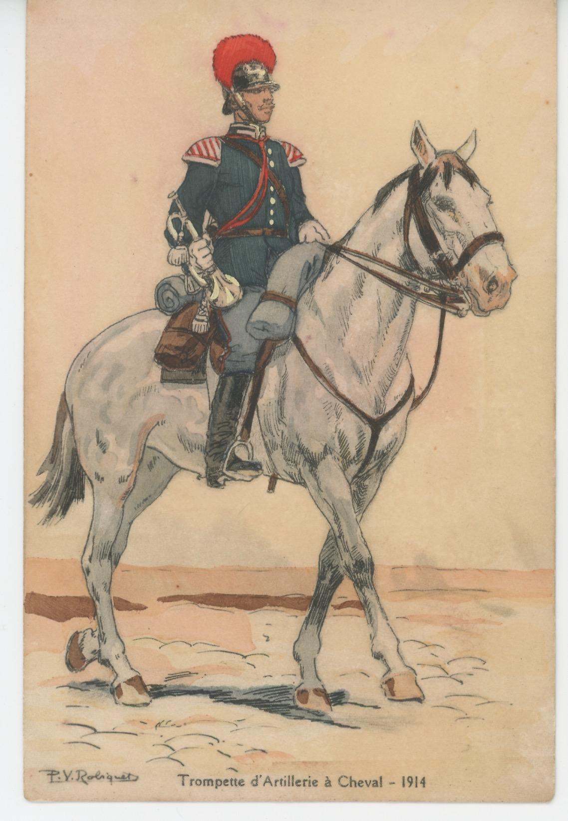 Carte Postale Illustrée - P.V. Robiquet - Edition Militaire Illustrées - Russie - Trompette artillerie à Cheval 1914