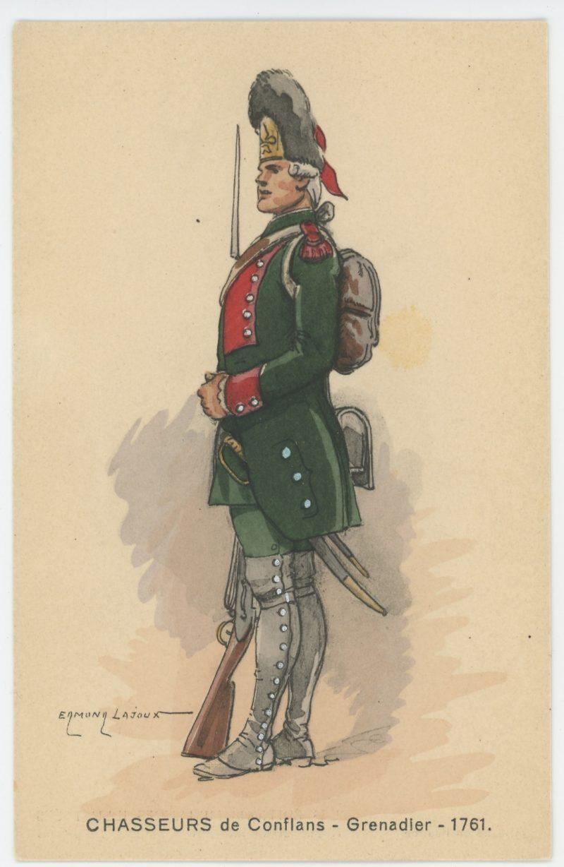 Carte Postale Illustrée - Edmond Lajoux - Edition Militaire Illustrées - Chasseurs de Conflans - Grenadier - 1761