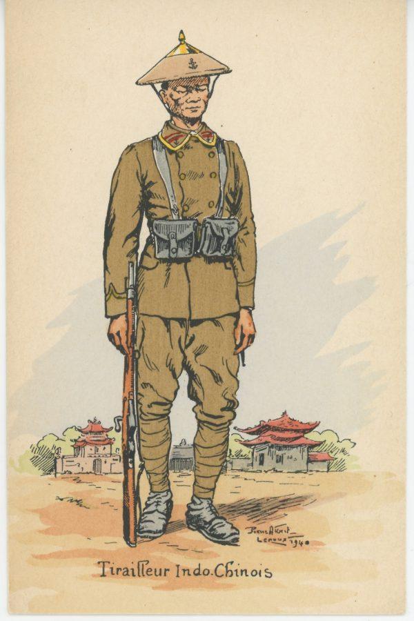 Carte Postale Illustrée - Pierre Albert Leroux - Edition Militaire Illustrées - Tirailleur Indochinois - 1940