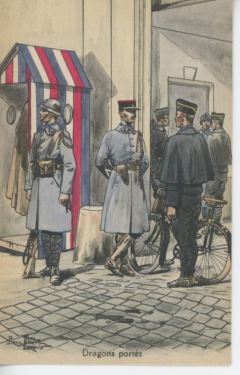 Carte Postale Illustrée - Pierre Albert Leroux - Edition Militaire Illustrées - Dragons Portés - 1930