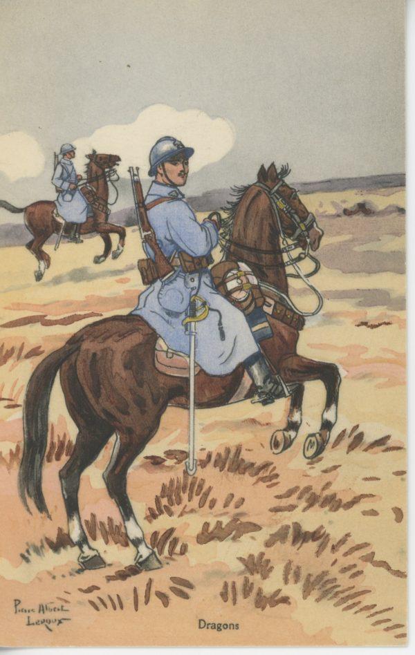 Carte Postale Illustrée - Pierre Albert Leroux - Edition Militaire Illustrées - Dragons - 1930
