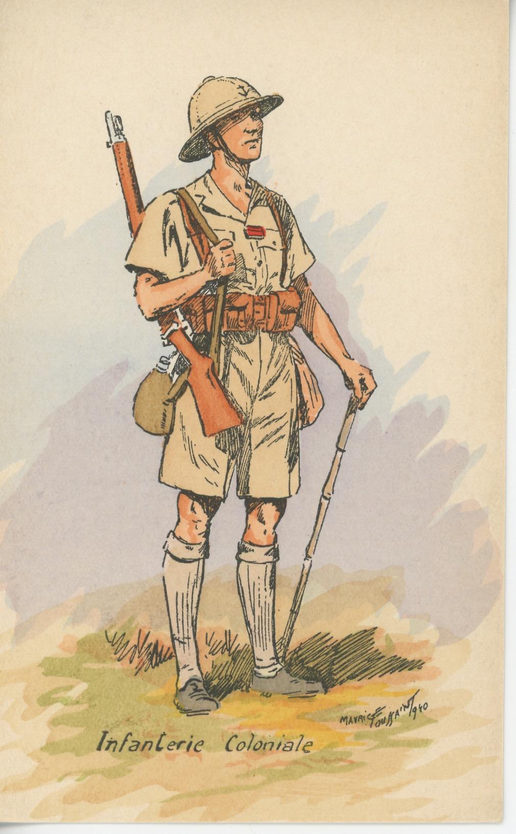 Carte Postale Illustrée - Maurice Toussaint - Edition Militaire Illustrées - Infanterie Coloniale - 1940