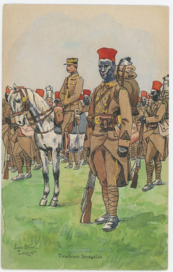 Carte Postale Illustrée - Pierre Albert Leroux - Edition Militaire Illustrées - Tirailleurs Sénégalais - 1930
