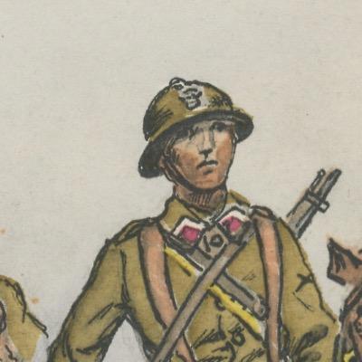 Armée Française - Dragons Fusil mitrailleur- Tenue de Campagne - 1939 - Maurice Toussaint - Uniforme