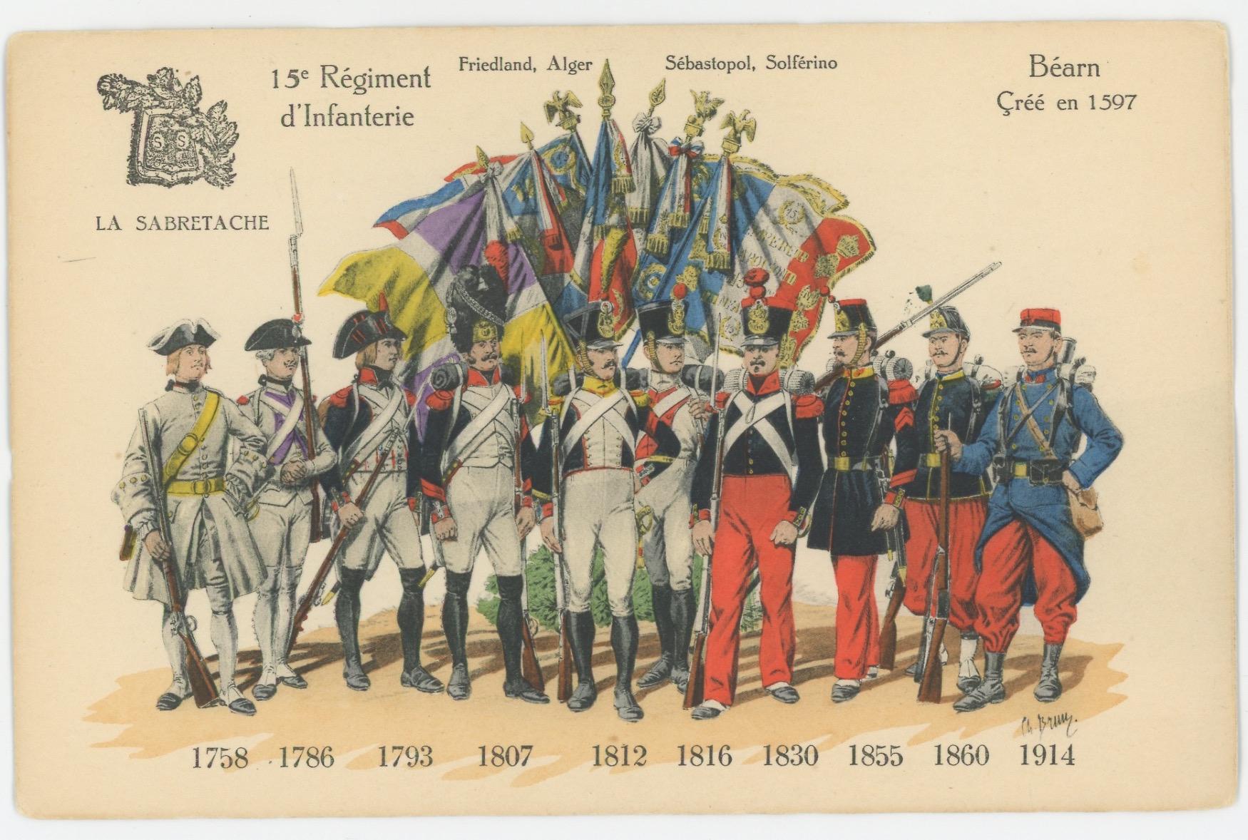 Carte Sabretache Historique Régiment - 15 Régiment d'infanterie.