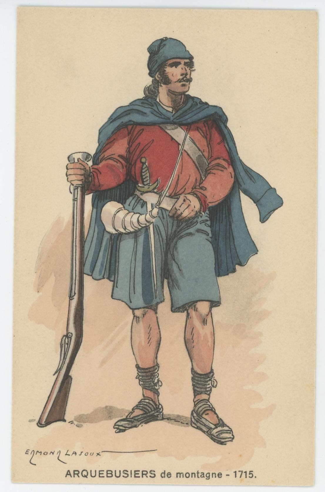 Carte Postale Illustrée - Edmond Lajoux - Edition Militaire Illustrées - Arquebusiers de Montagne - 1715