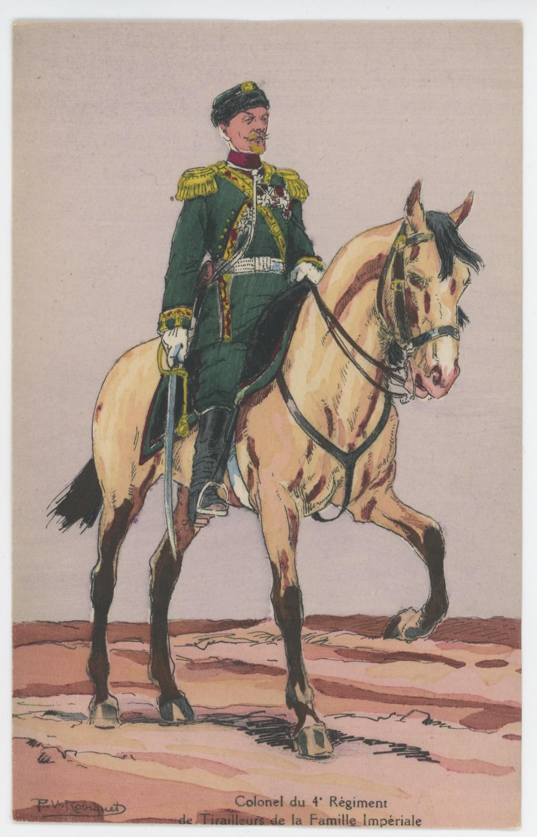 Carte Postale Illustrée - P.V. Robiquet - Edition Militaire Illustrées - Russie - Colonel Régiment de Tirailleurs - 1914