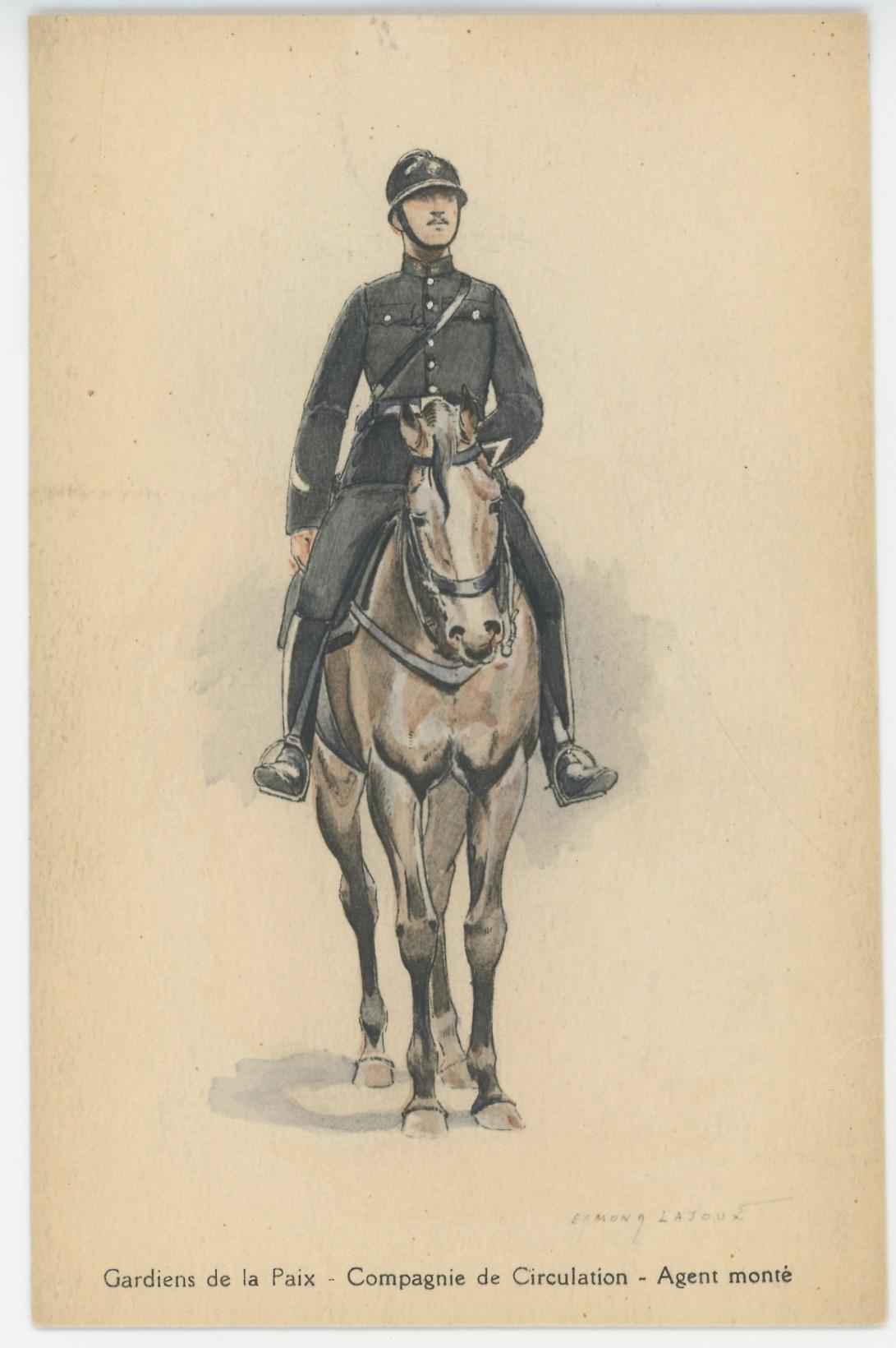 Carte Postale Illustrée - Edmond Lajoux - Edition Militaire Illustrées - Gardiens de la Paix - 1940