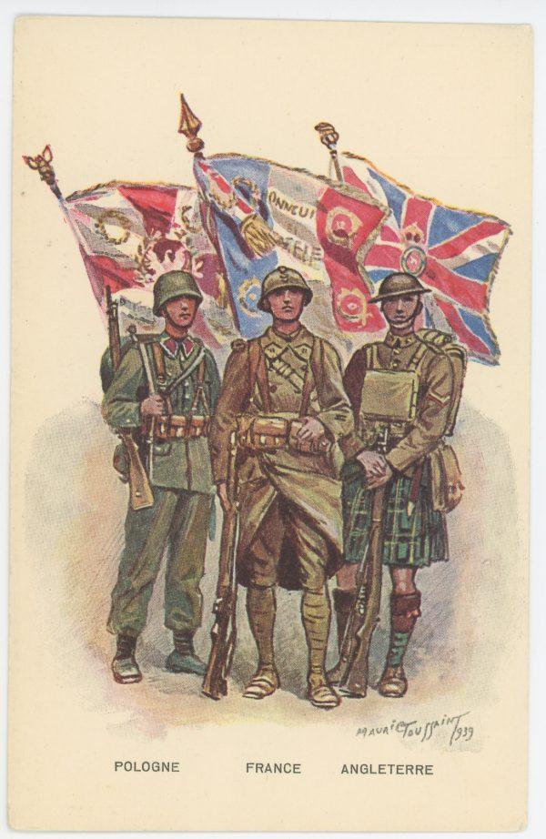 Carte Postale Illustrée - Maurice Toussaint - Edition Militaire Illustrées -1939 - Les alliés - France - Pologne - Angleterre